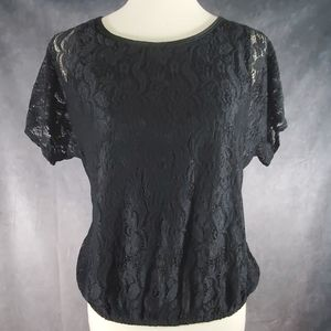 New with tag black lace top